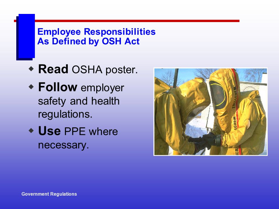 Employee Responsibilities As Defined by OSH Act