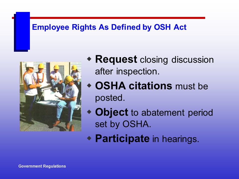 Employee Rights As Defined by OSH Act