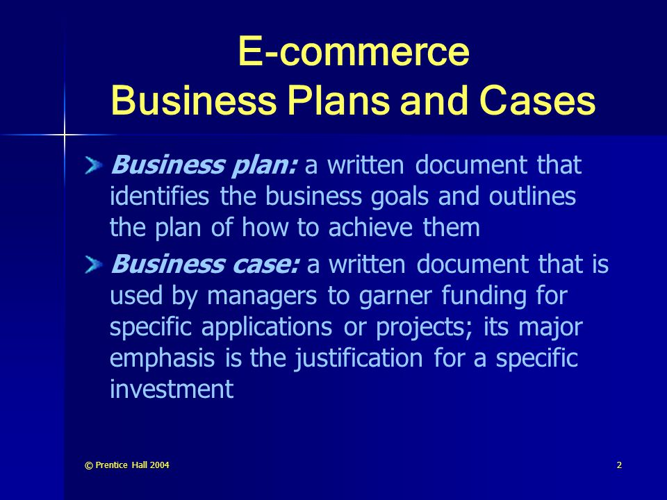 E-commerce Business Plans and Cases