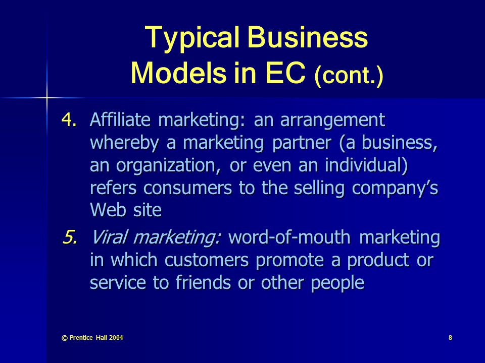 Typical Business Models in EC (cont.)