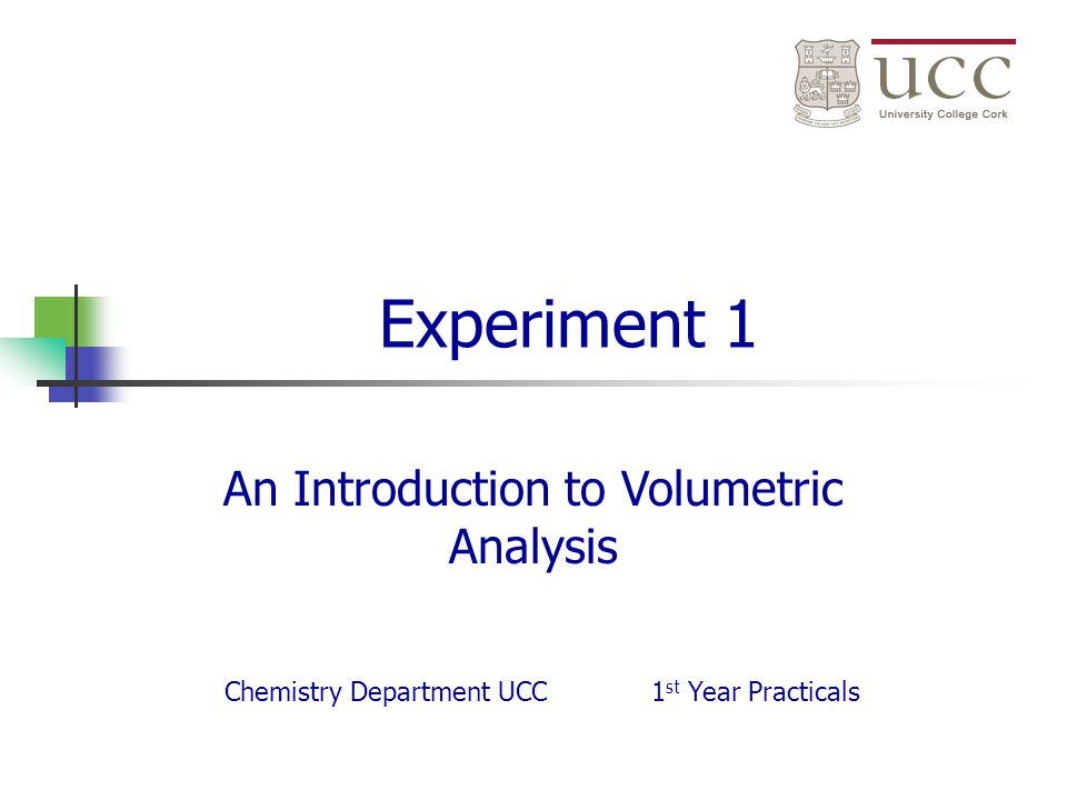 An Introduction to Volumetric Analysis
