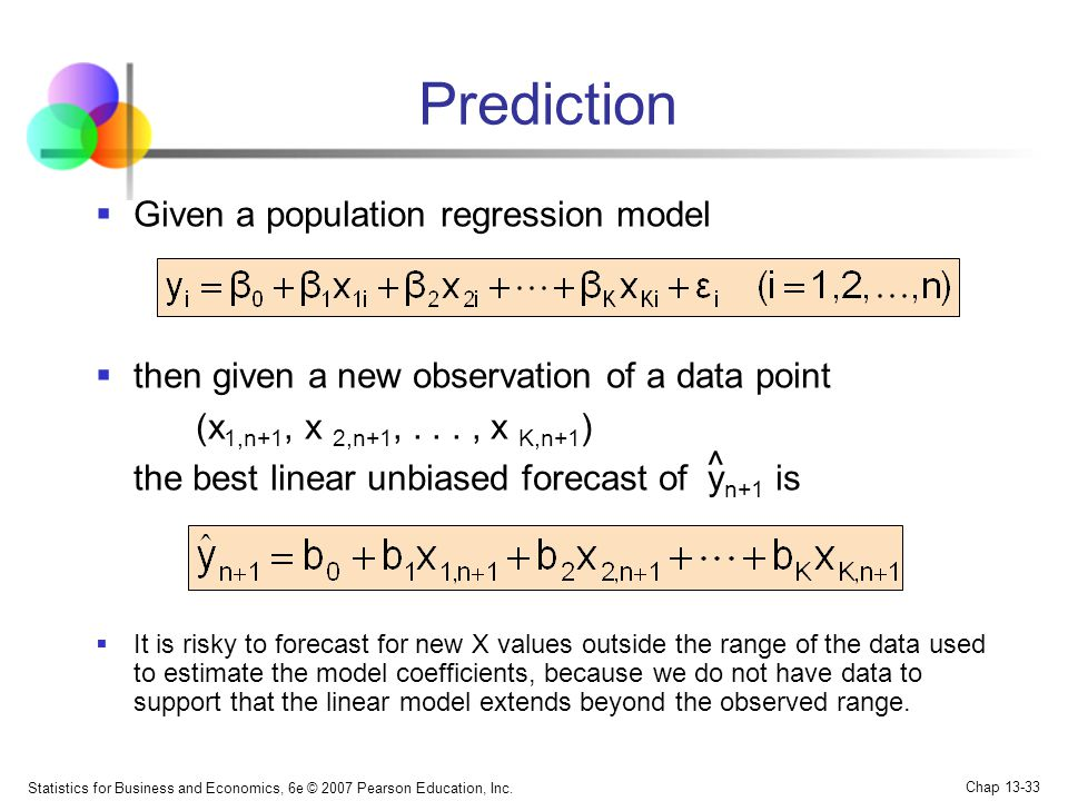 Prediction Given a population regression model
