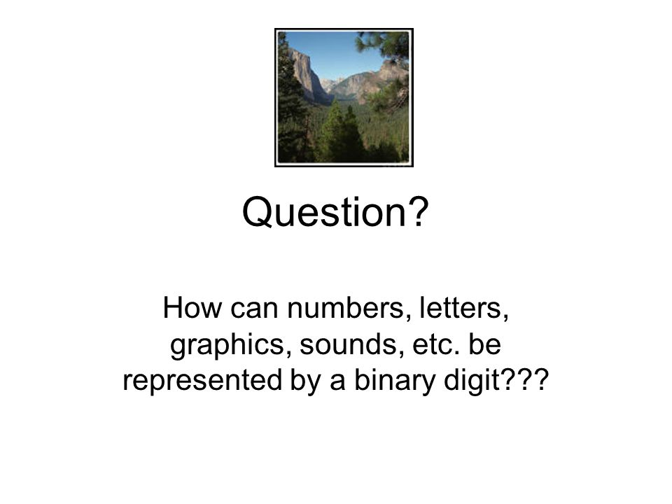 Question How can numbers, letters, graphics, sounds, etc. be represented by a binary digit
