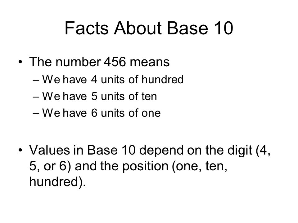 Facts About Base 10 The number 456 means