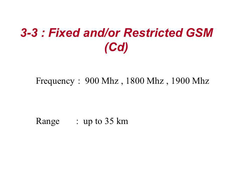 3-3 : Fixed and/or Restricted GSM (Cd)