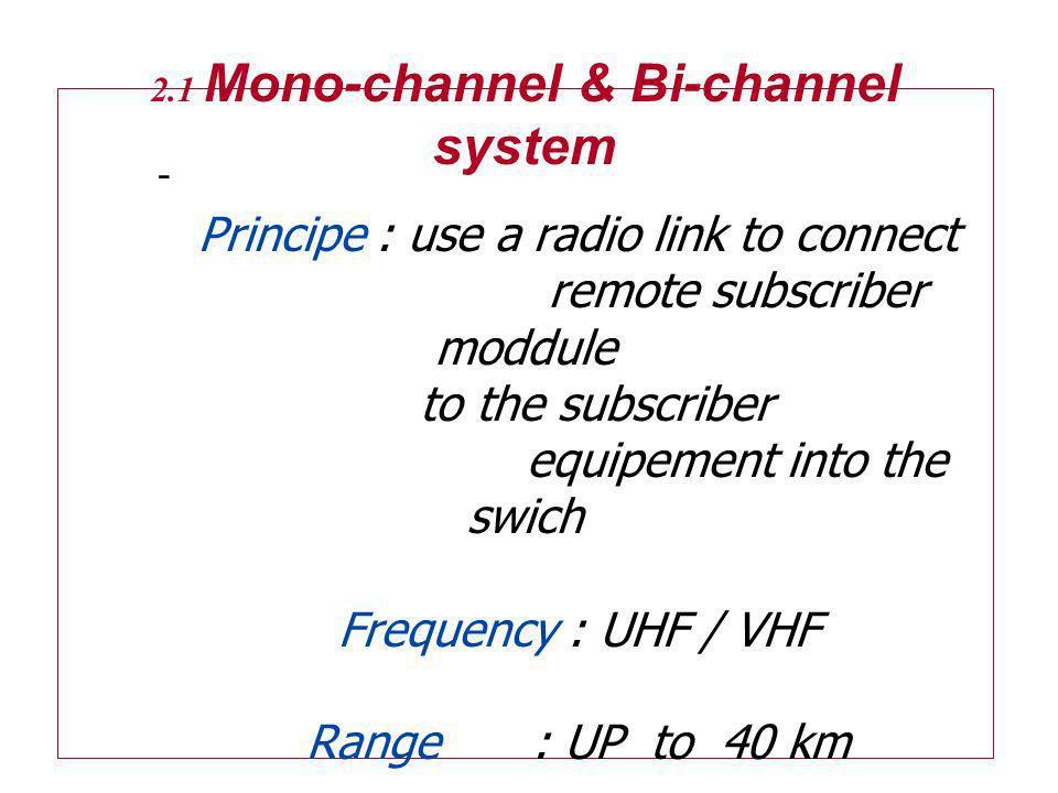 2. 1 Mono-channel & Bi-channel system
