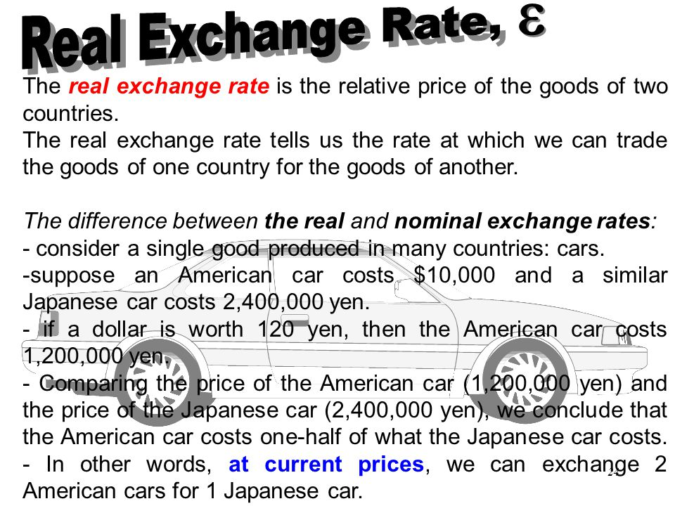 Real Exchange Rate, e. The real exchange rate is the relative price of the goods of two countries.