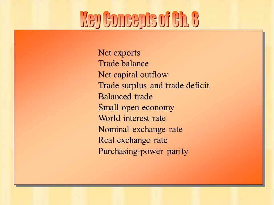 Key Concepts of Ch. 8 Net exports Trade balance Net capital outflow