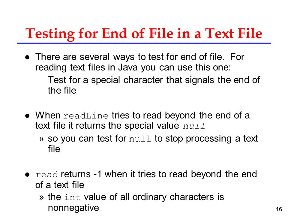 Testing for End of File in a Text File