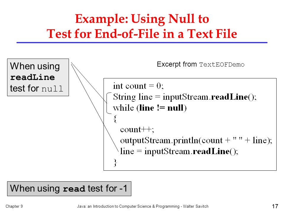 Example: Using Null to Test for End-of-File in a Text File
