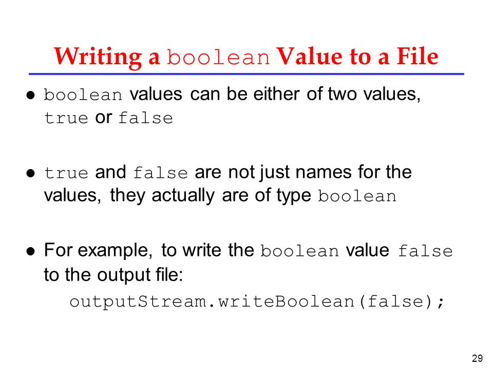 Writing a boolean Value to a File