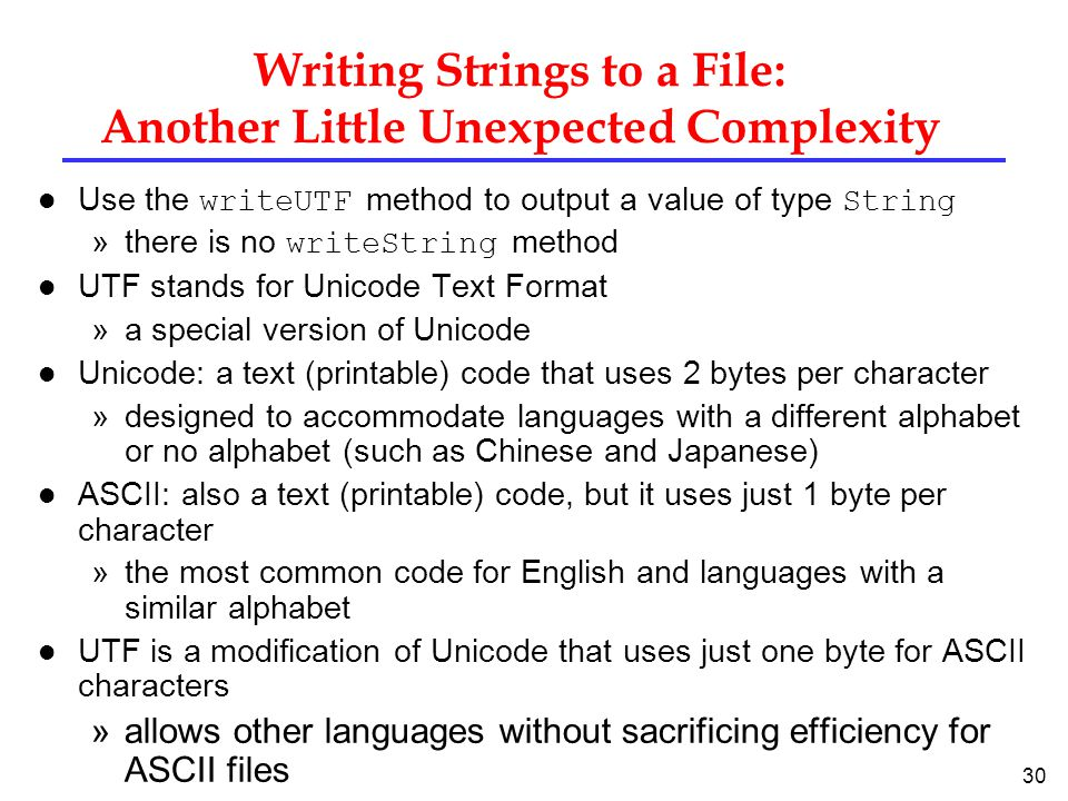 Writing Strings to a File: Another Little Unexpected Complexity