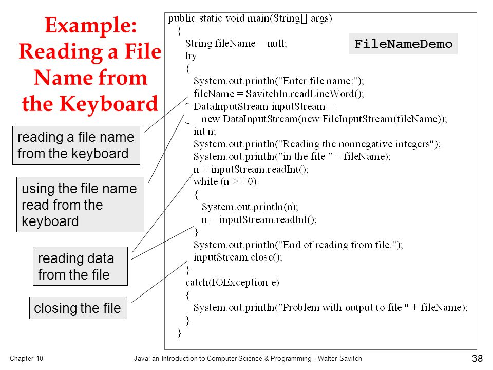 Example: Reading a File Name from the Keyboard