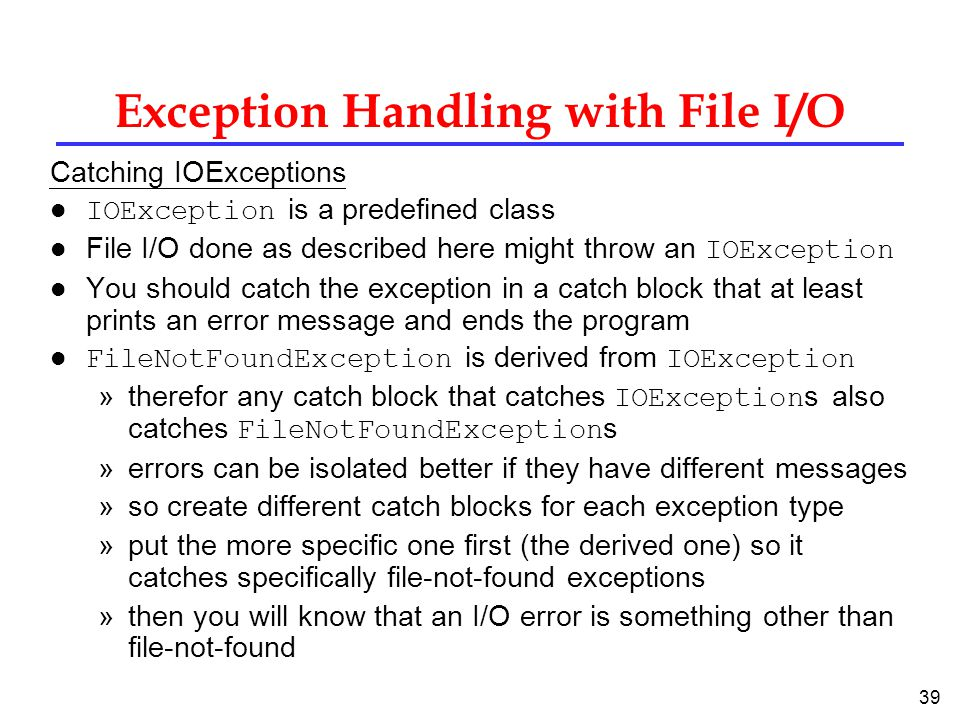 Exception Handling with File I/O