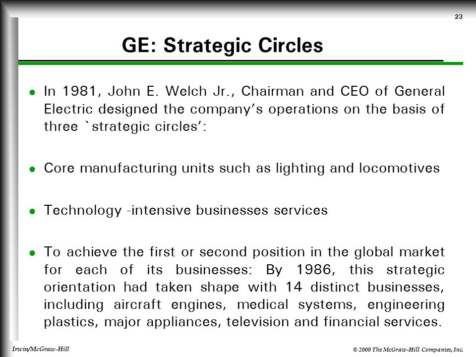 general electric strategic position 1981 General electric company (ge) is an american multinational corporation general electric (ge) has evolved from thomas edison's home laboratory into one of the largest companies in the world general electric company was created as a result of merger of edison general electric company and thomson-houston electric company in1892.