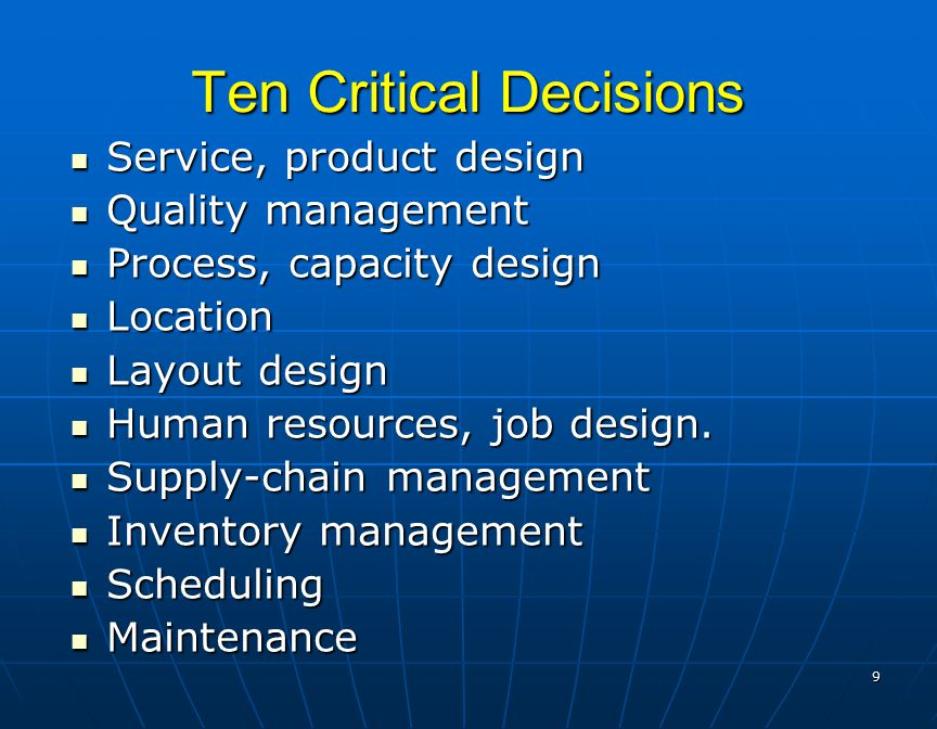 ten critical areas of operations manage Chapter 1 operations management key operations questions part one who just want to visit one area, to avoid having to go.