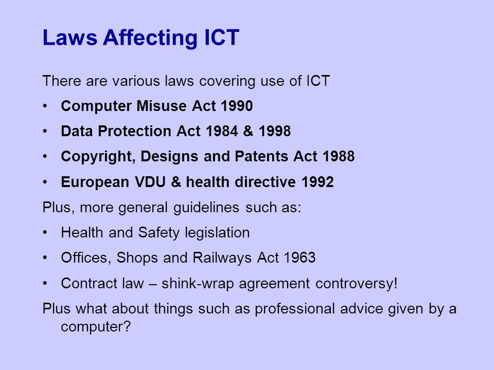 ict health and safety act The health and safety executive (hse)  act 1971 and its subsidiary regulations relevant statutory provisions of the health and safety at work etc, act 1974.