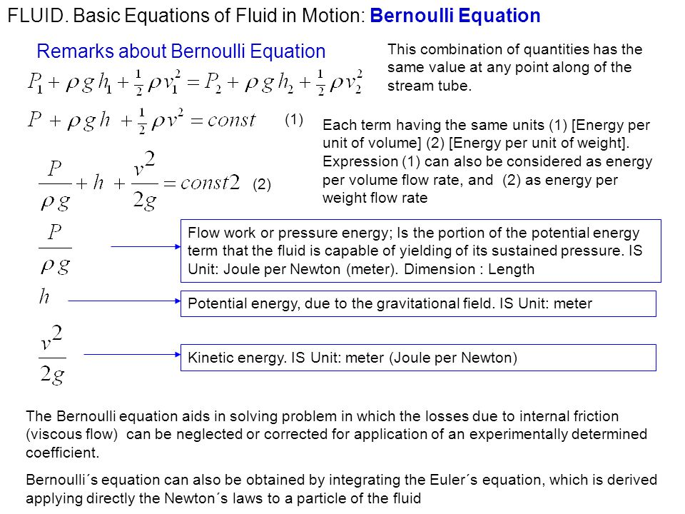 Fluid fluids in motion continuity equation bernoullis equation basic equations of fluid in motion bernoulli equation ccuart Image collections