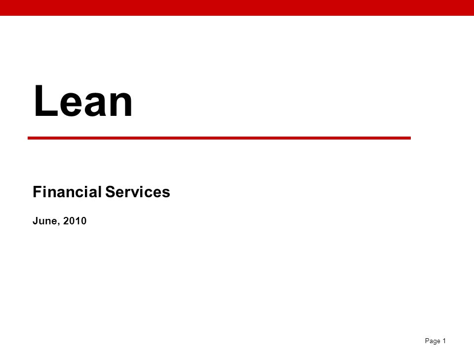 Lean Financial Services June, 2010