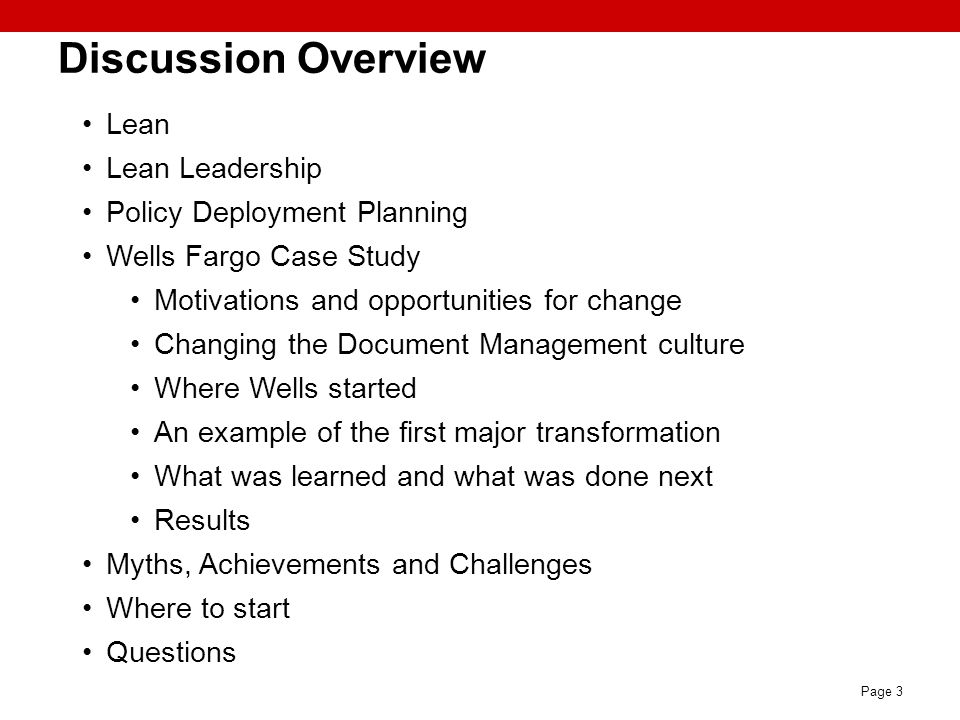 Discussion Overview Lean Lean Leadership Policy Deployment Planning