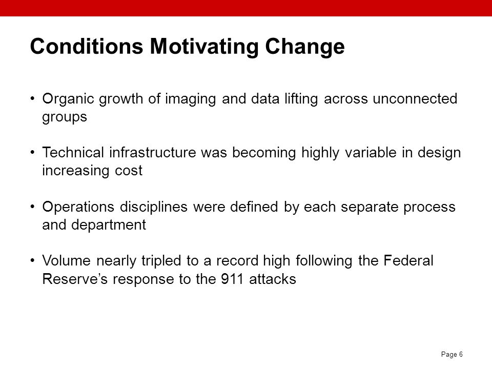 Conditions Motivating Change