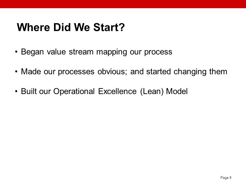 Where Did We Start Began value stream mapping our process