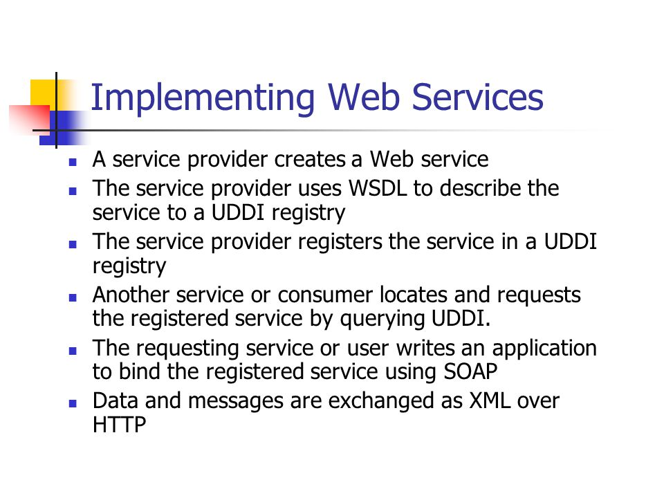 Implementing Web Services