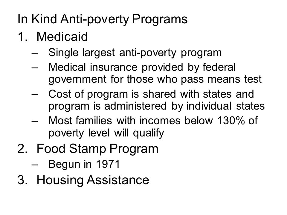 In Kind Anti-poverty Programs