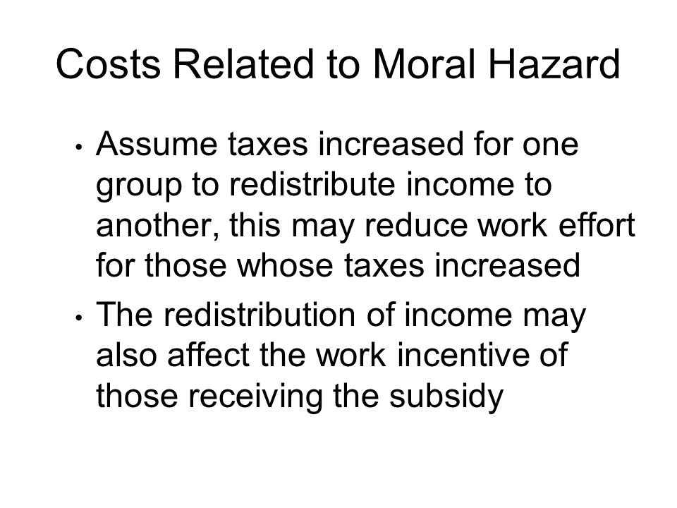 Costs Related to Moral Hazard