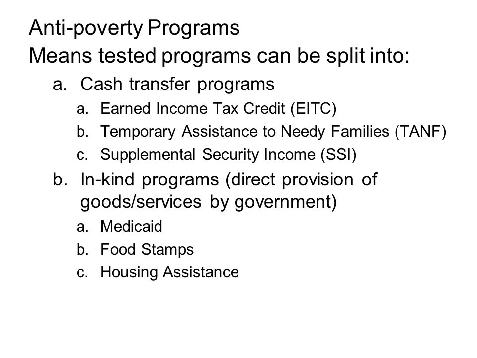 Anti-poverty Programs