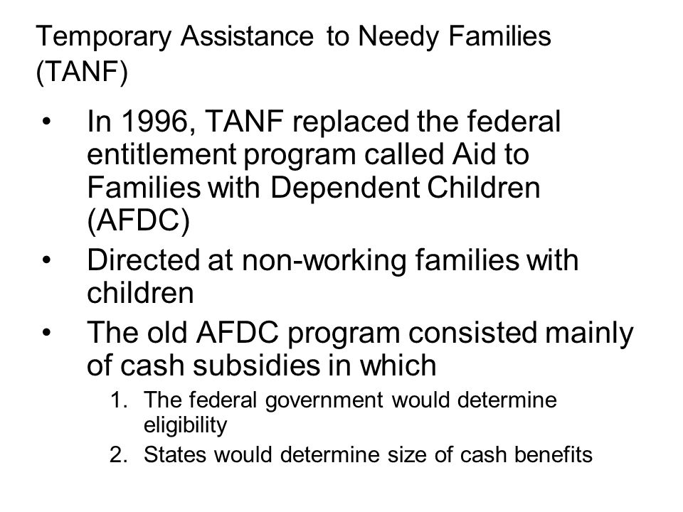 Temporary Assistance to Needy Families (TANF)