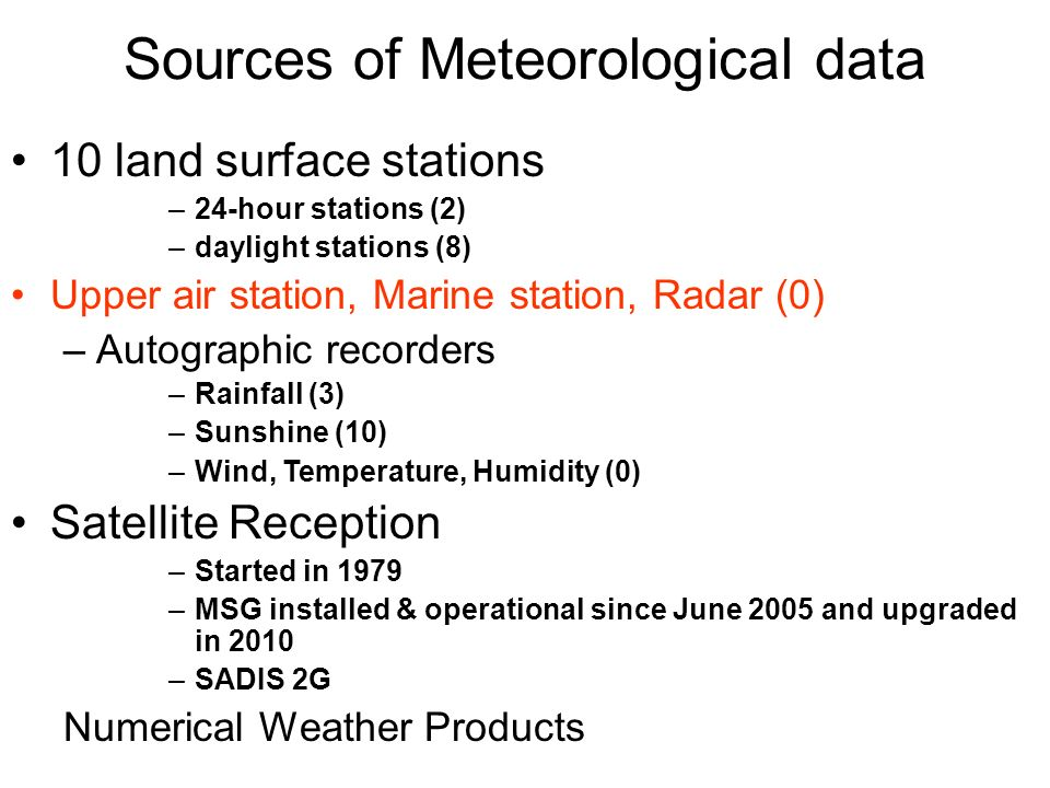 Sources of Meteorological data