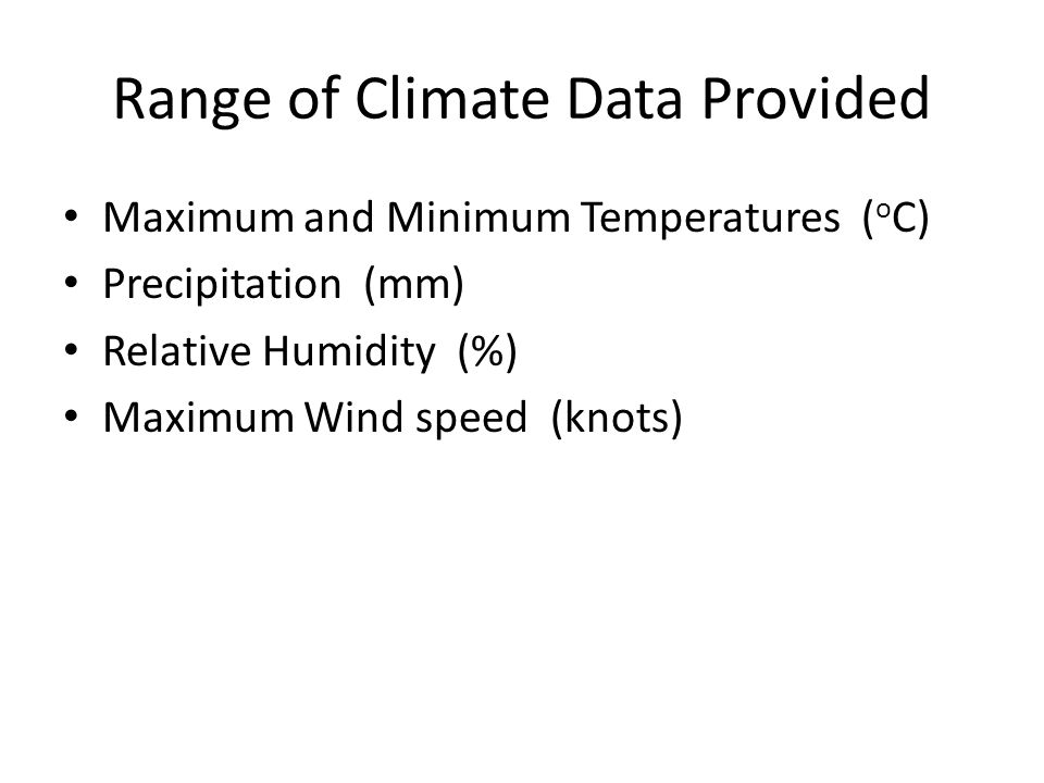 Range of Climate Data Provided