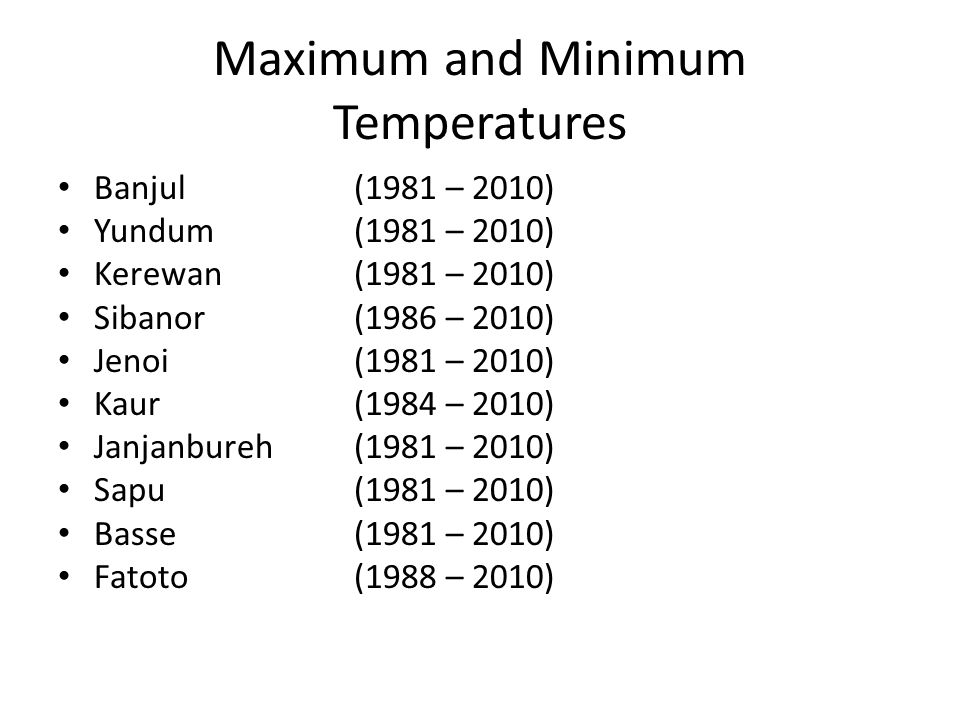 Maximum and Minimum Temperatures