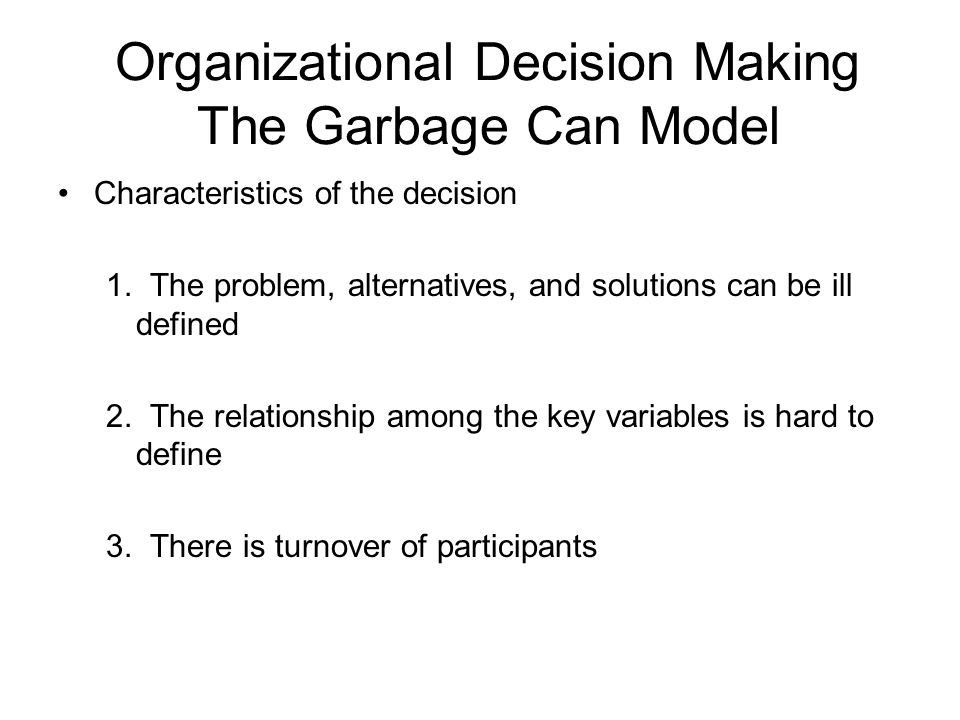 political model of decision making The cyert-march-simon model (aka carnegie decision model) was developed by richard cyert the carnegie mellon university model of decision making is a model of decision satisficing this model emphasizes the political process involved in decision making.