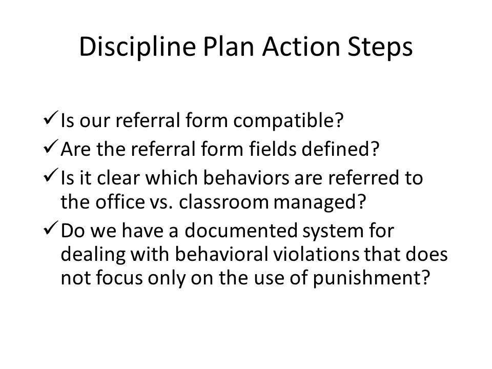 Discipline Plan Action Steps
