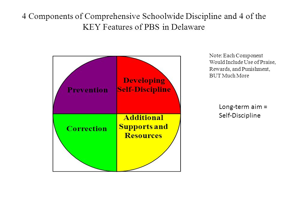 4 Components of Comprehensive Schoolwide Discipline and 4 of the KEY Features of PBS in Delaware