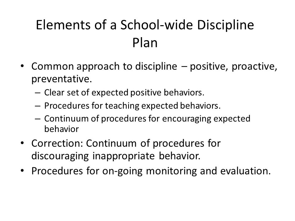 Elements of a School-wide Discipline Plan
