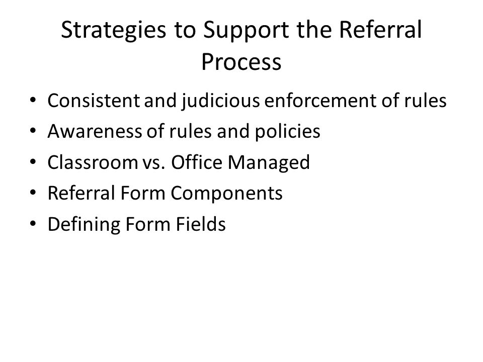 Strategies to Support the Referral Process