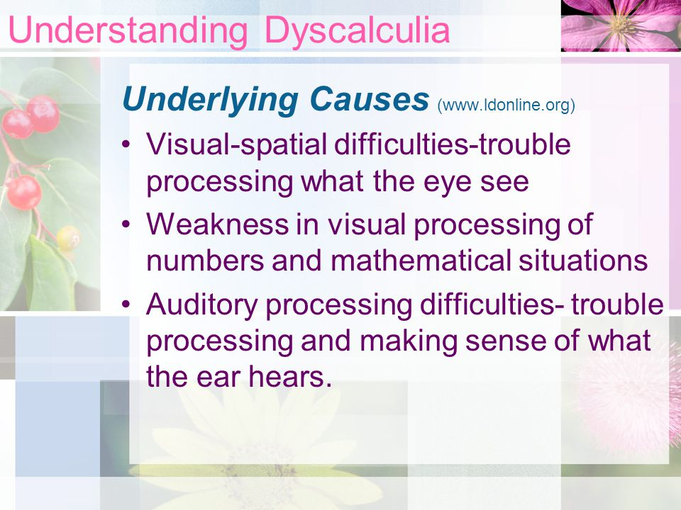 Understanding dyscalculia ppt video online download for Visual motor processing disorder