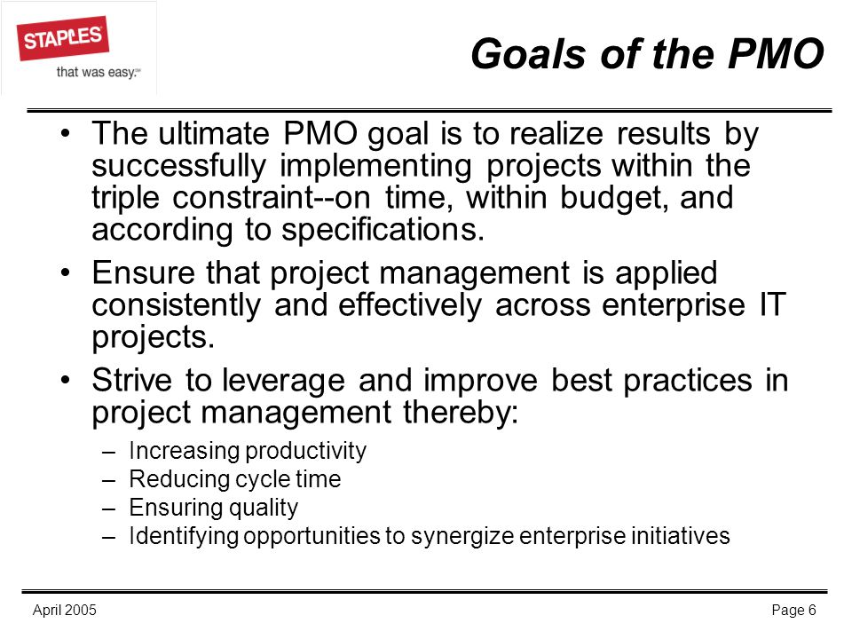 Goals of the PMO