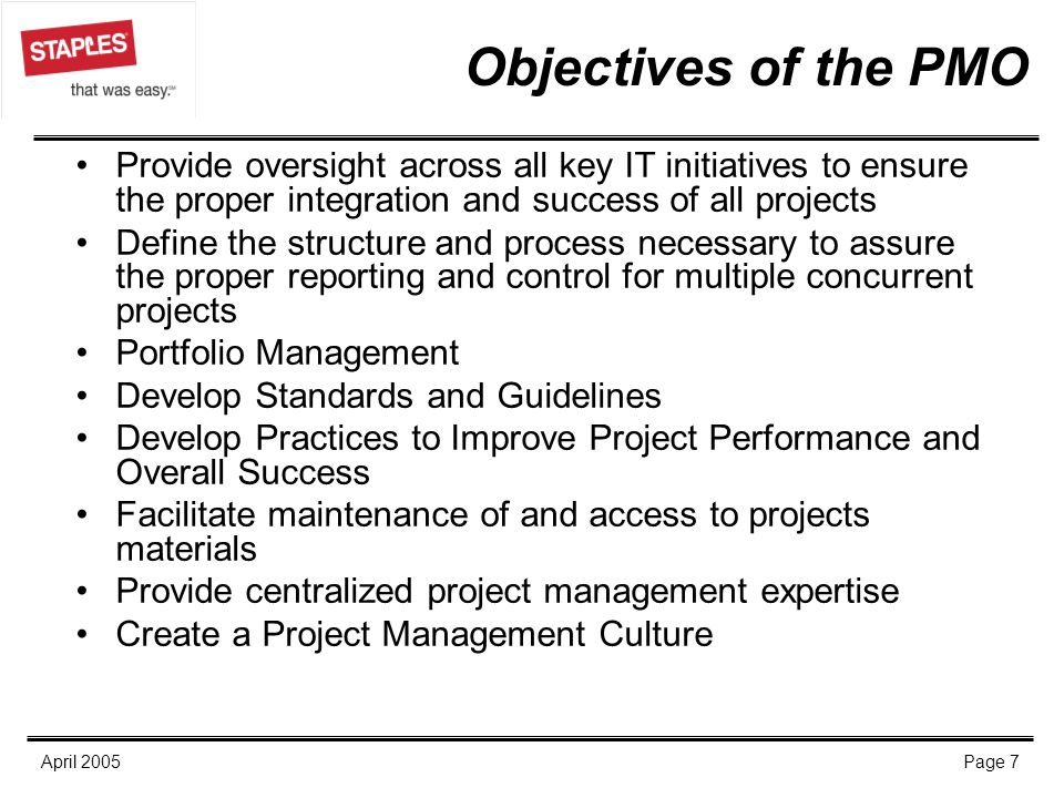 Objectives of the PMO Provide oversight across all key IT initiatives to ensure the proper integration and success of all projects.