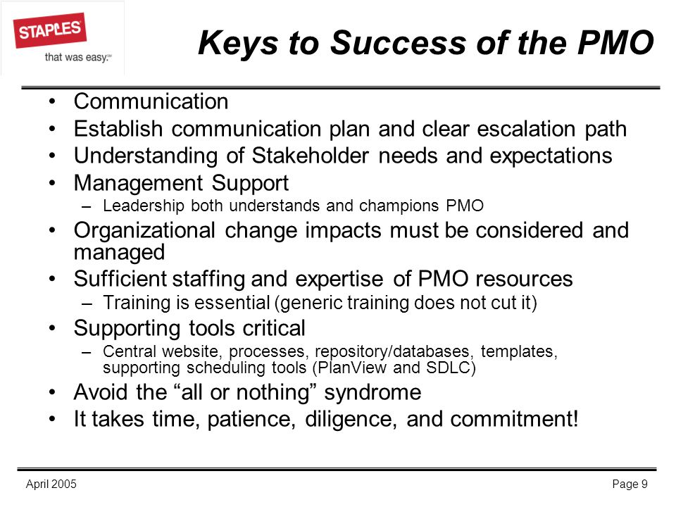 Keys to Success of the PMO