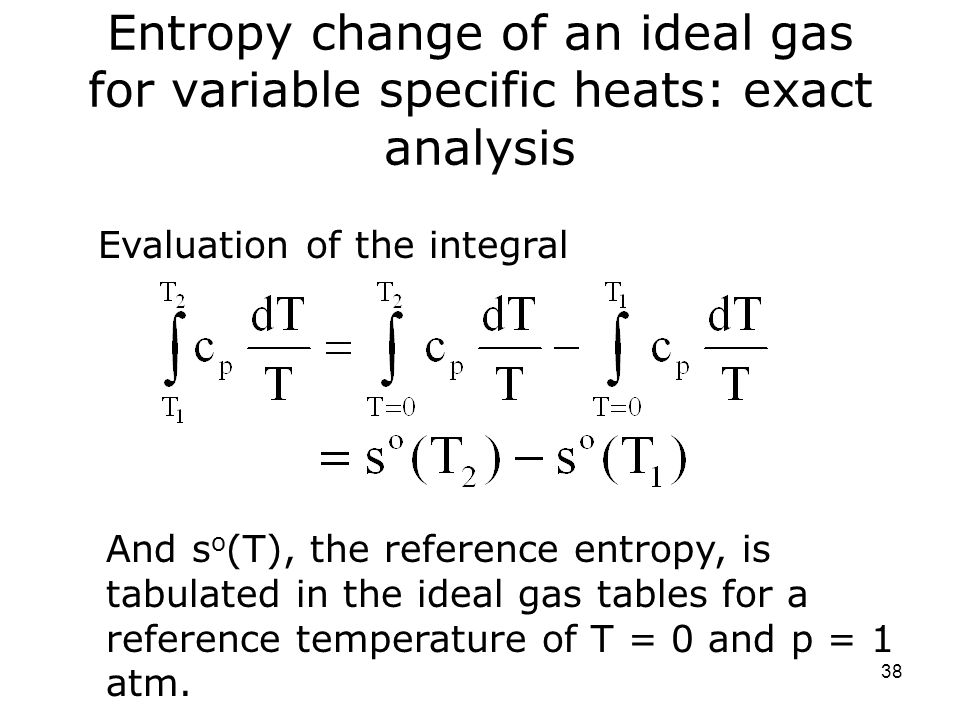 Entropy Change Of An Ideal Gas For Variable Specific Heats: Exact Analysis