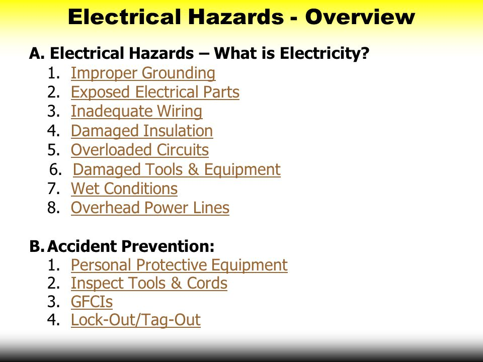Electrical Hazards - Overview  sc 1 st  SlidePlayer : electrical wiring hazards - yogabreezes.com