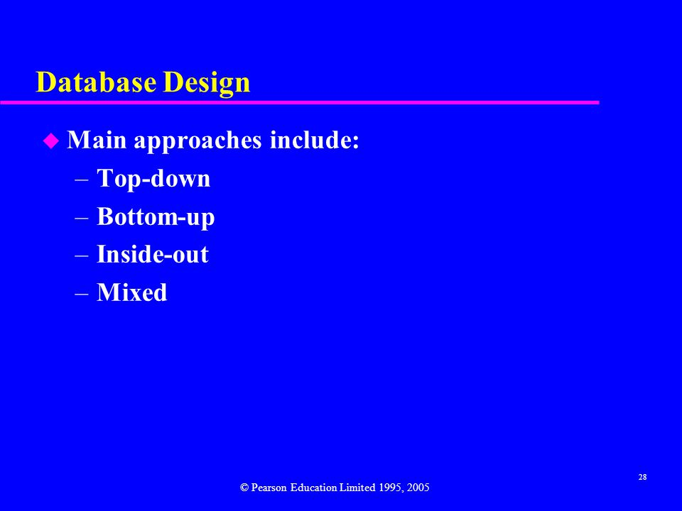 Database Design Main approaches include: Top-down Bottom-up Inside-out