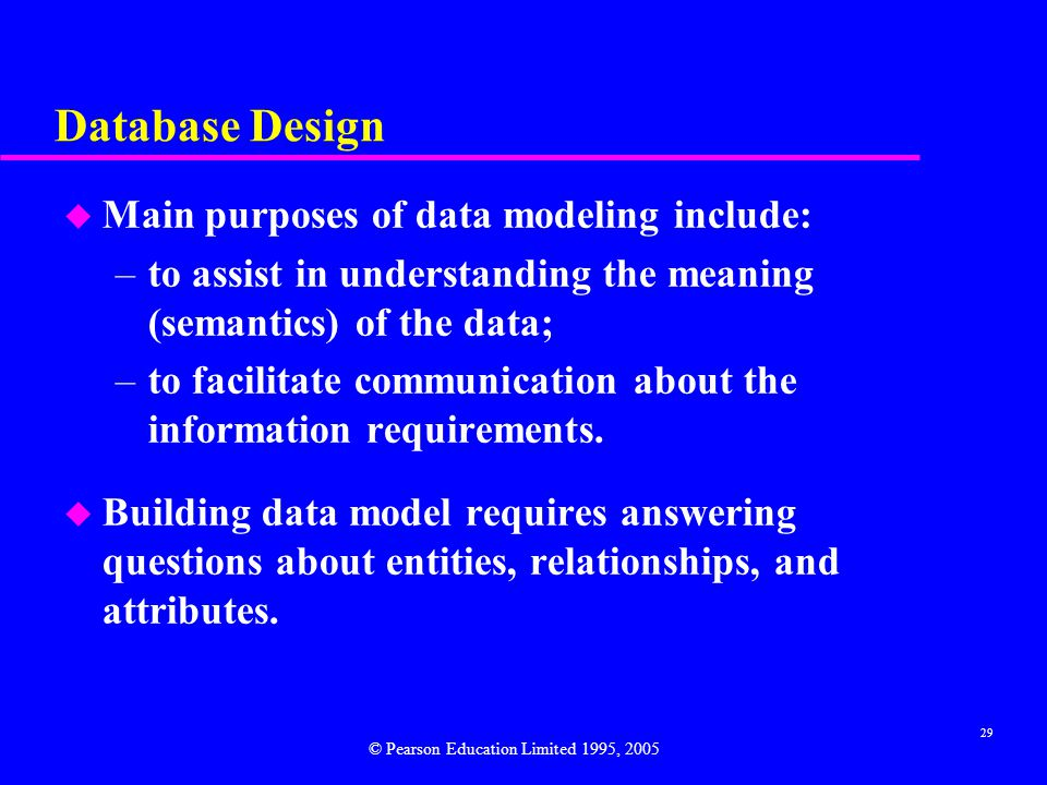 Database Design Main purposes of data modeling include: