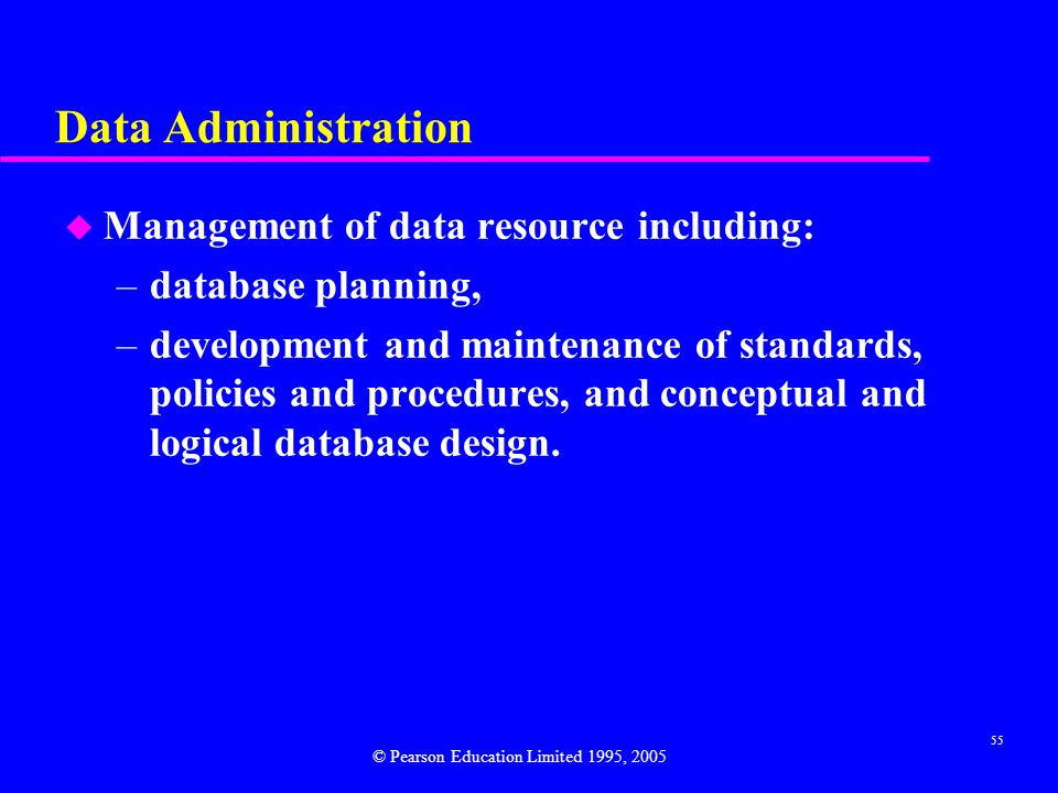 Data Administration Management of data resource including:
