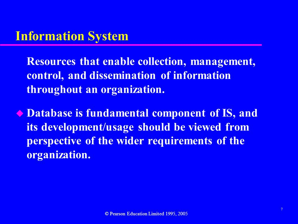Information System Resources that enable collection, management, control, and dissemination of information throughout an organization.