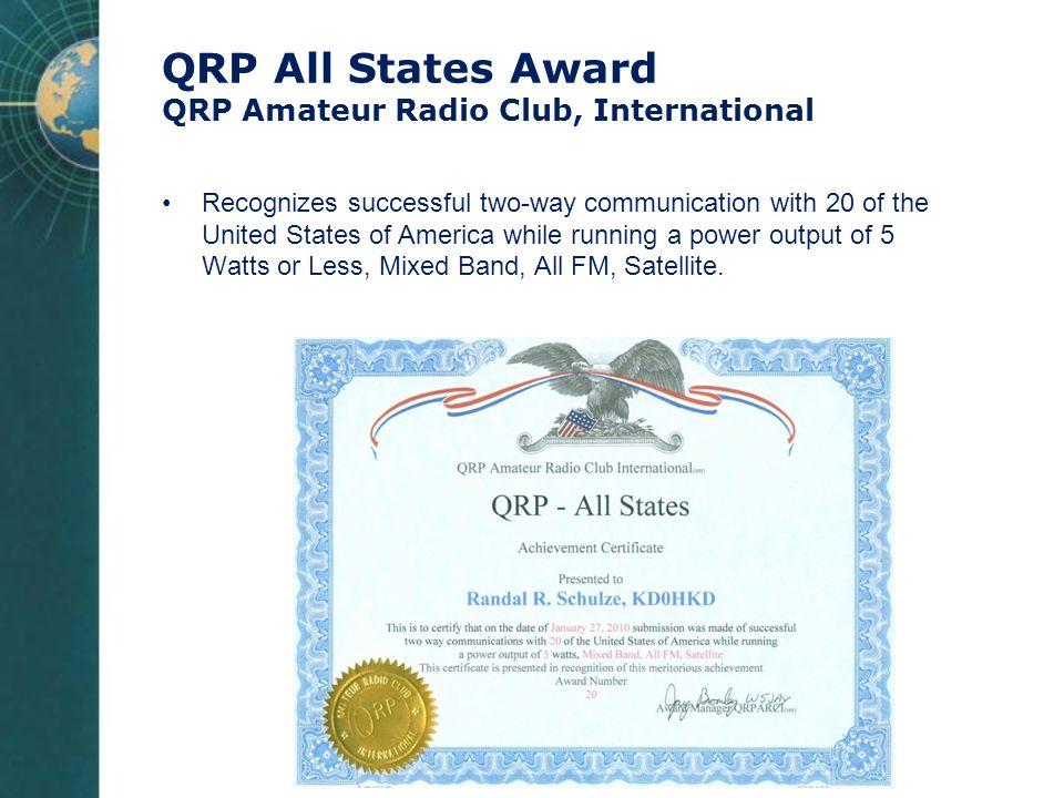 QRP All States Award QRP Amateur Radio Club, International